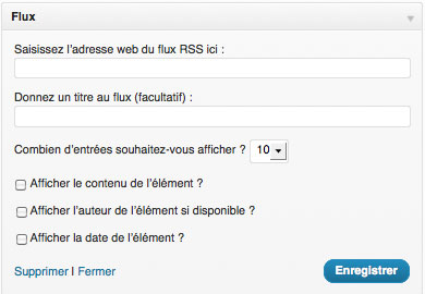 flux rss wordpress remplir les options du widget
