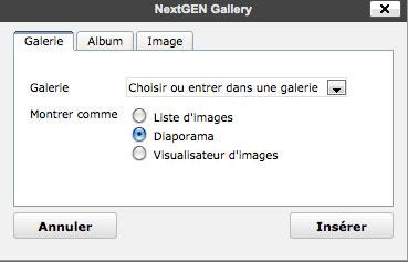 nextGen gallery diaporama