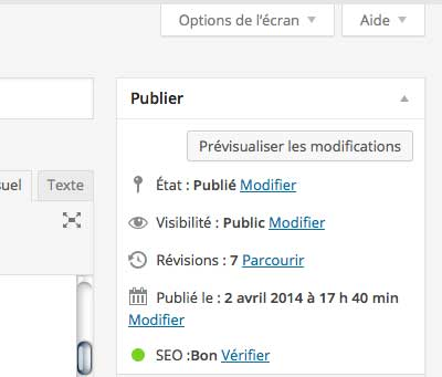 option écran WordPress