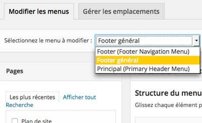 Choisir menu WordPress à modifier