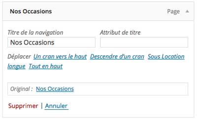 Supprimer onglet menu WordPress
