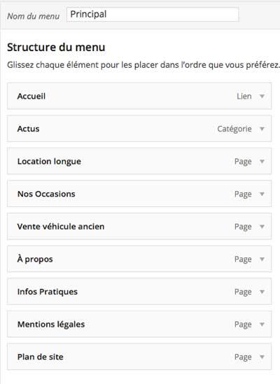 Modifier menu WordPress