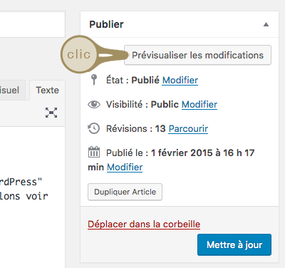 Prévisualiter les modifications d'une page WordPress