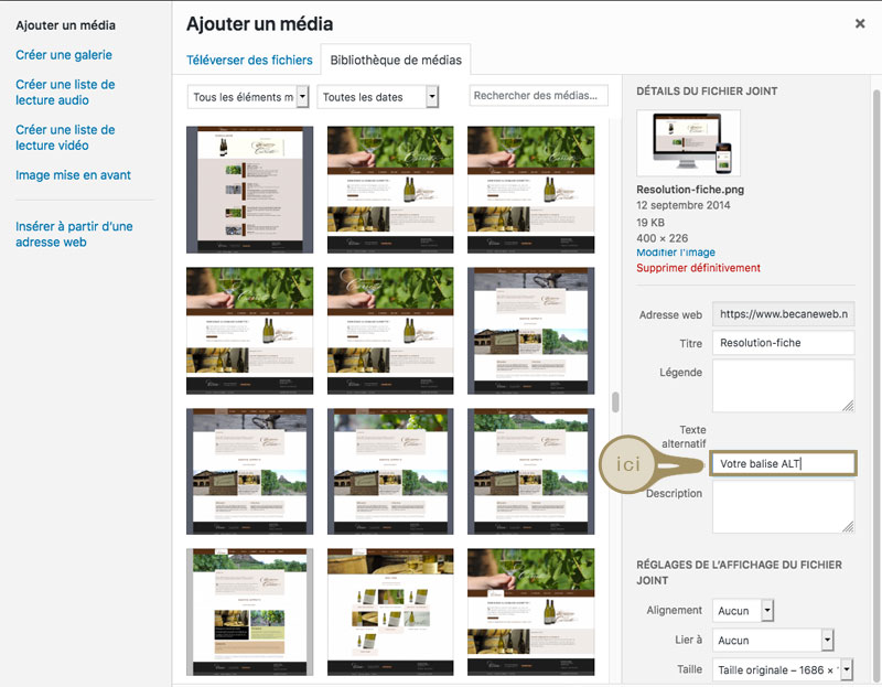 Ajouter balise Alternative WordPress