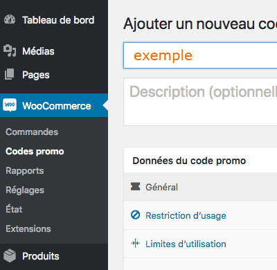Gestion code promo WooCommerce