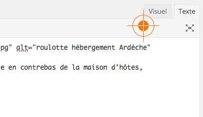 Mode visuel texte édition WordPress