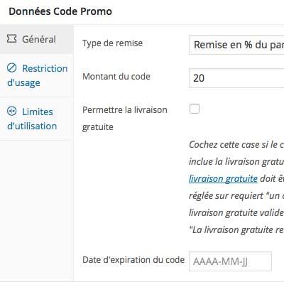 créer code promo WordPress