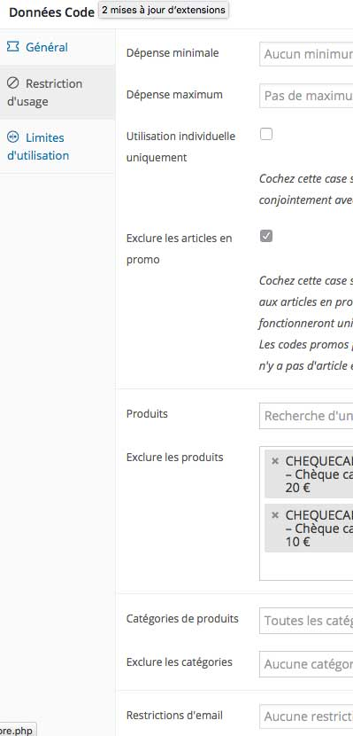 Restriction usage code promo Woocommerce